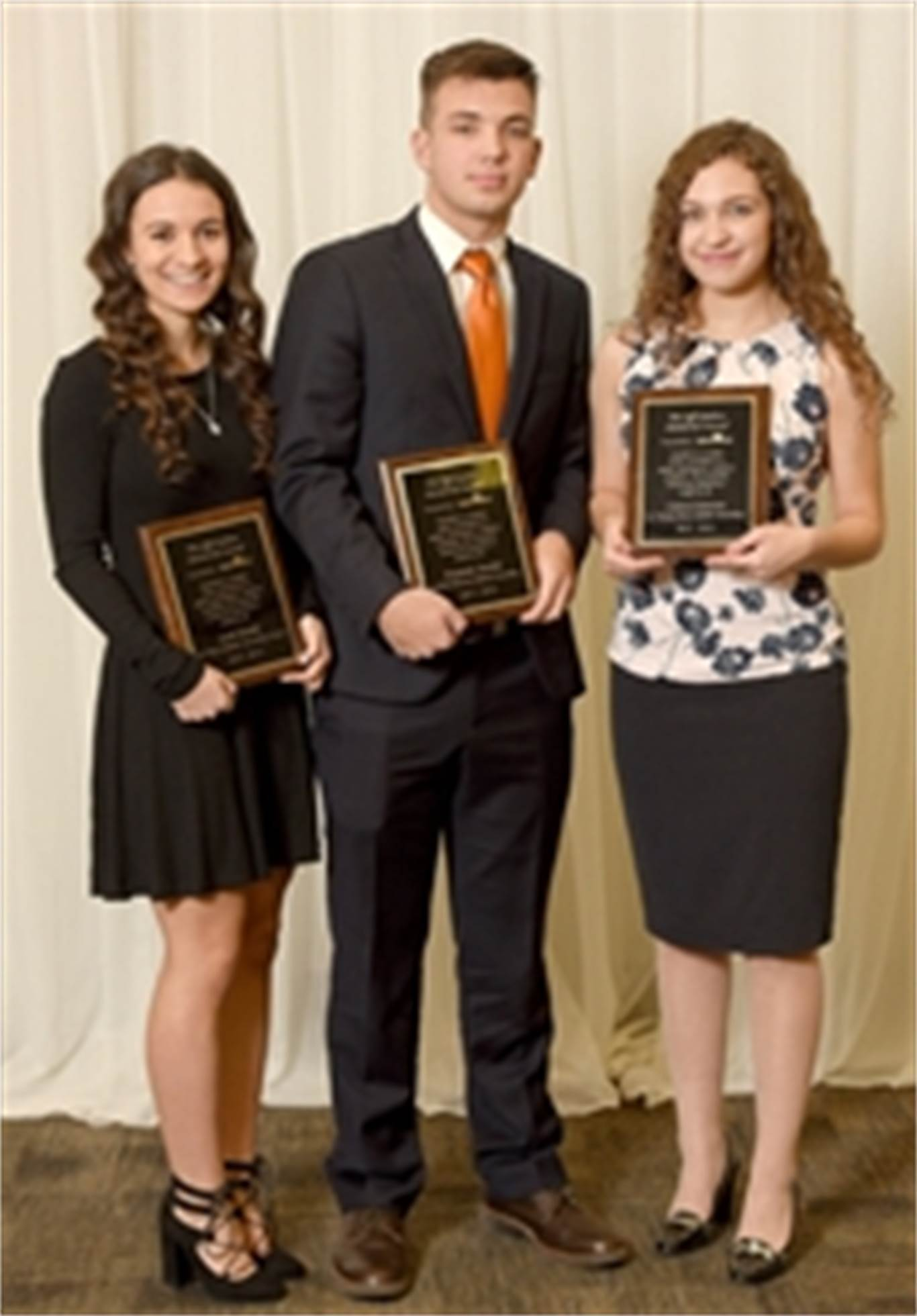 Winners of the 2017 Jeff Dickens Award included, from left to right, Sarah Rotella from St. Mary CSS, Ben Zwolak from Cardinal Newman CSS and Lianna Genovese from St. Thomas More CSS. The Hamilton Spectator is seeking nominations for this year's award.