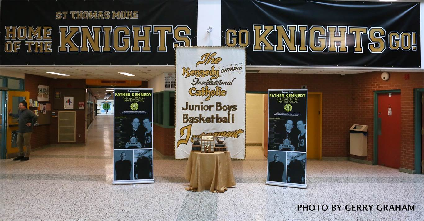 New tribute banners and logos will be displayed at both sites. They depict Father Kyran Kennedy, McPhee and Luciani, the former More vice-principal, basketball enthusiast and coach who passed away in 2016. Photo by Gerry Graham.