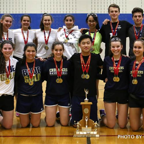 The Crusaders captured the overall team points title at the 2018 Hamilton-Wentworth Catholic Athletic Association senior high school badminton championships. Photo by Gerry Graham.